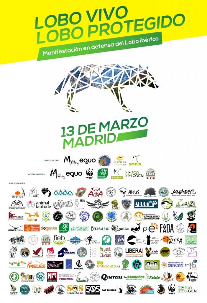 Manifestacion en defensa del lobo iberico 13 marzo 2016